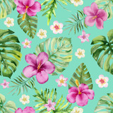Watercolor hand painted seamless pattern of tropical leaves and  flowers. - 218226511