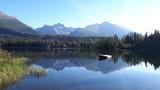 boat on mountain lake - 218227574