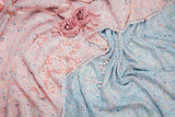 Boucle fabric pink and blue