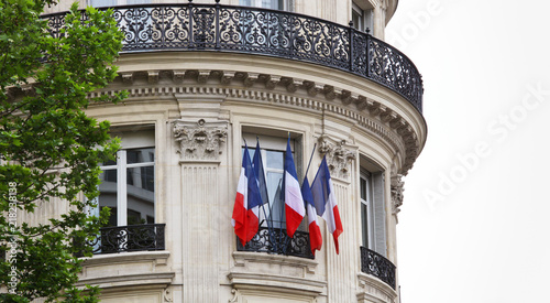 Poster national flags of France in Paris