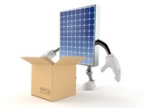 Photovoltaic panel character with open cardboard box - 218240769