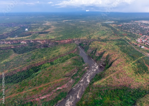 Fotobehang Grijs Aerial picture of the sambesi river short after the famous Victoria Falls in Zimbabwe
