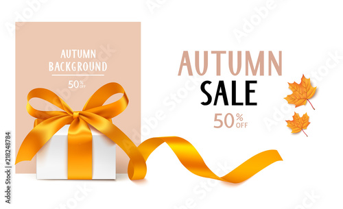Autumn Sale template design. Vector background with gift box and yellow maple leaves