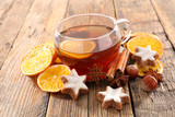 christmas tea with spice and gingerbread cookie