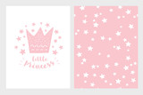 Little Princess. Hand Drawn Baby Shower Vector Illustration Set. Light Pink Design. Cute Pink Crown, Stars and Letters on a White Backround. White Stars Pattern on a Pink Background.