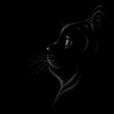 The Vector logo cat for T-shirt design or outwear.  Hunting style cat background.. Cat black looking