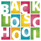Back to school rectangle color letters white background - 218263974
