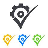 Icono plano engranaje con validacion en varios colores - 218267923