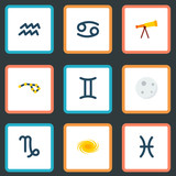 Set of  icons flat style symbols with cancer, galaxy, constellation and other icons for your web mobile app logo design.
