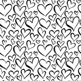Pattern of hearts hand drawn vector sketch. Seamless heart art background hand drawn by marker drawing. Romantic symbols for love greeting valentines elements. - 218269737