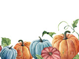 Watercolor bright pumpkin and leaves card. Hand painted autumn pumpkin ornament with branch isolated on white background. Botanical illustration for design and fabric, halloween. - 218270181