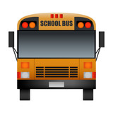 Front of modern school bus mockup. Realistic illustration of front of modern school bus vector mockup for web design isolated on white background - 218281185