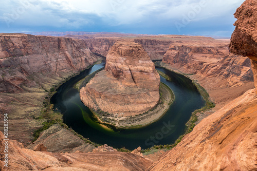 Aluminium Arizona Horseshoe Bend Photo with Cloudy Sky