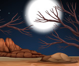 Nature scene with dry land at night - 218297953