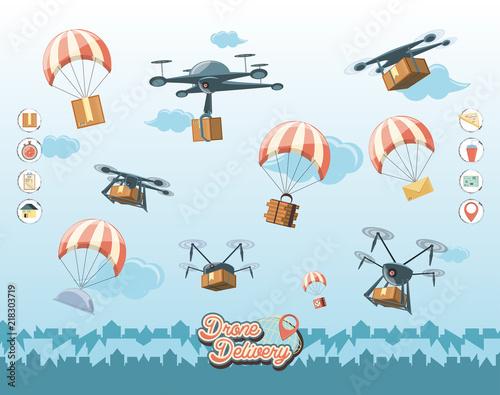 drone service set icons vector illustration design