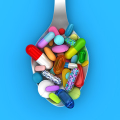 Dose of colorful pills in spoon - 3d render