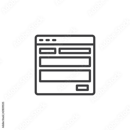 Website Template Outline Icon Linear Style Sign For Mobile Concept