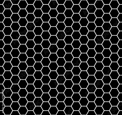 hexagon shapes. abstract geometric background. vector seamless pattern. black and white backdrop - 218314117