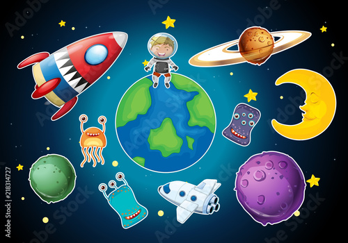 Canvas Kids A set of space element