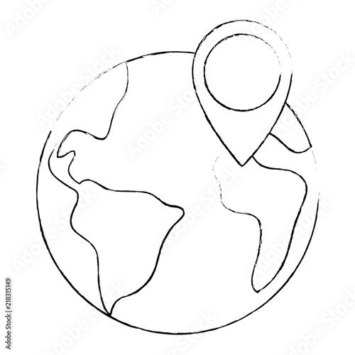 World Planet Earth With Pin Location