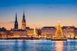 Leinwandbild Motiv Skyline und Weihnachtsmarkt von Hamburg, Deutschland