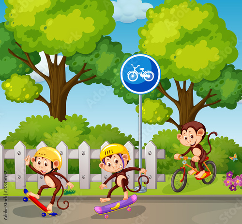 Canvas Kids Monkey riding a bicycle and skateboard