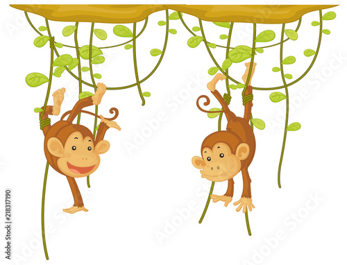 Canvas Kids Monkey hanging on the vine
