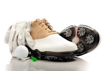 Pair Of Golf Shoes  Glove Ball And Tees Sticker