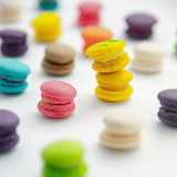 A french sweet delicacy, macaroons variety closeup.macaroon colourful texture. - 218324349