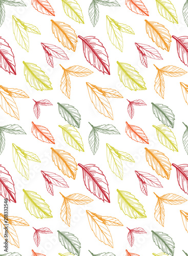 seamless autumn pattern with hand sketched leaves - 218332546