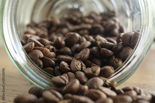 Foto Spatwand Koffiebonen Café en grain / bocal de café en grain