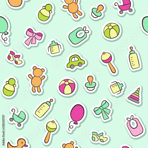 obraz PCV Baby. Newborn. Cute seamless pattern in doodle and cartoon style. Vector background for printing, banner, photo album and other