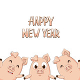 Text Happy New Year and three pigs on white background