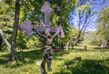 Graves on the ramins of former Orthodox Church in Wolosate, small settlement in Bieszczady National Park, Subcarpathian Voivodeship of Poland