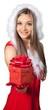 Leinwanddruck Bild - Beautiful blonde woman in Santa hat with gift