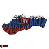 Typography map silhouette of Slovakia in black and flag colors.