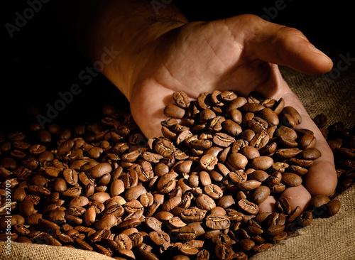 Coffee beans in hand on dark background.