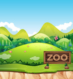 A zoo sign in nature - 218363116