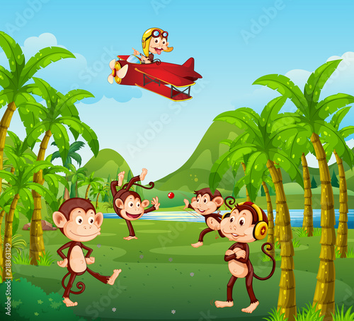 Canvas Kids A group of monkey in jungle