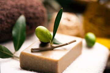 Natural spa with olive oil bar soap and towels © Fabio Balbi