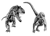 Graphical set of tyrannosaurus and velociraptor isolated on white, vector tattoo sketchy illustration ,t-rex