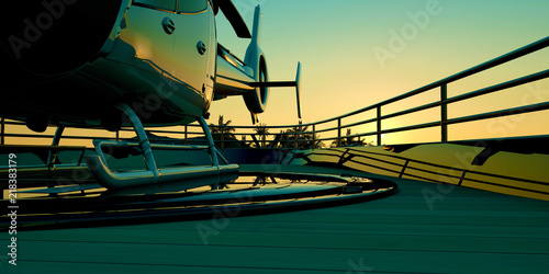 Leinwanddruck Bild Extremely detailed and realistic high resolution 3d illustration of a luxury Mega Yacht.