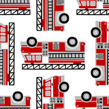 Hand drawn fire trucks seamless vector pattern on white background.