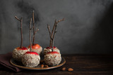 Caramel Apples with almonds - 218389733