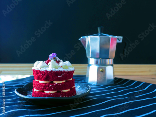 Homemade red velvet cake or chocolate cake with red food coloring ...