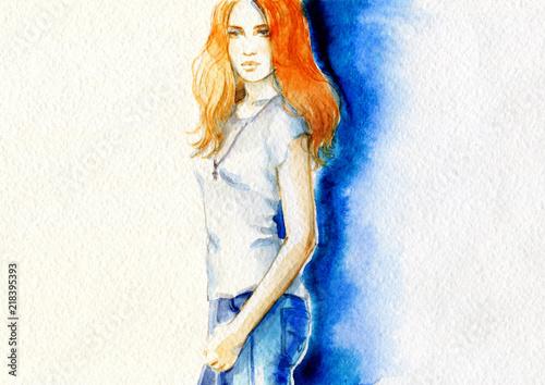 Aluminium Anna I. beautiful woman. fashion illustration. watercolor painting