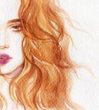 beautiful woman. fashion illustration. watercolor painting- 218395552