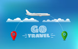 World travelling concept. Travel banner with aircraft and destination pin - 218398753