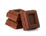 Dark chocolate bars isolated on white background - 218402337