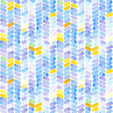 Seamless pattern with abstract geometric figures. Watercolor stripes like a trace of the wheel, blue, yellow and violet colors. - 218403712